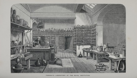 Faraday's Laboratory at the Royal Institution (1870 engraving) Faraday Laboratory 1870 Plate RGNb10333198.05.tif