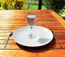 A glass of water in an empty plate