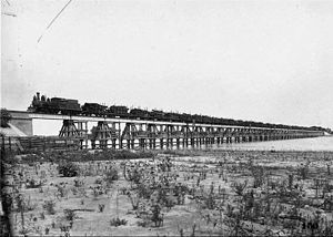 Province of Santa Fe Railway - A train crossing the bridge over Laguna Setubal, 1903.