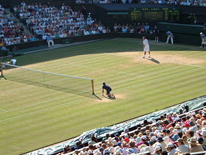 Grass court - Roger Federer playing on the grass at Centre Court in the 2006 Wimbledon Championships