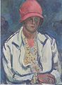 Felix Esterl - Frau des Künstlers mit rotem Hut - ca1928.jpeg
