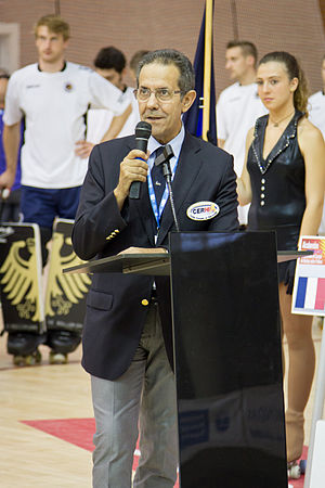 Comité Européen de Rink-Hockey - Fernando Graça during his speech as president of the CERH at the opening ceremony of the 2014 CERH European Championship.