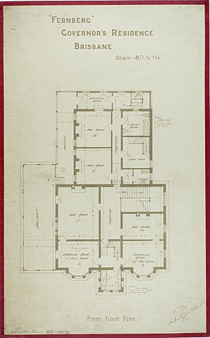 Government House, Brisbane -  First Floor Plan, c 1884