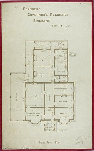 Government House, Brisbane - First Floor Plan, c 1884