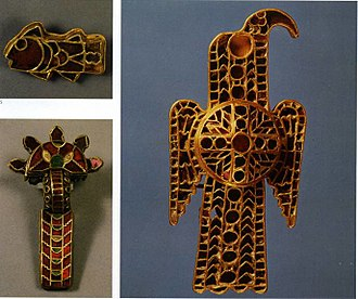 Migration Period art - Lombardic jewellery with gold and garnet cloisonné