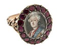 Fingerring av guld och almandiner med miniatyrporträtt, 1700-tal - Hallwylska museet - 110238.tif