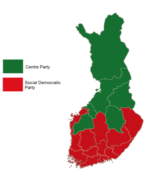 Finnish parliamentary election, 1995 - Image: Finnish parliamentary election results by province, 1995