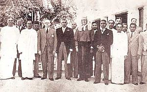 S. W. R. D. Bandaranaike - The first Cabinet of Ministers of Ceylon. Bandaranaike is in the first row-second from the left