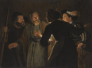 Denial of Peter - Flemish painting: Denial of Saint Peter