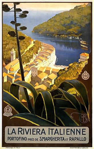 Italian Riviera - La Riviera italienne, travel poster for ENIT, ca. 1920.