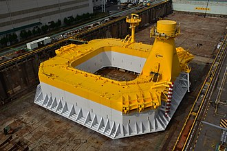 Floating wind turbine - Steel floating substructure designed by Ideol for 3.2 MW NEDO project (Japan) based on Ideol technology, fully coated in dry dock before wind turbine installation