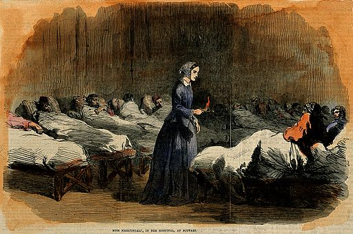 Florence Nightingale. Coloured wood engraving, 1855. Wellcome V0004316