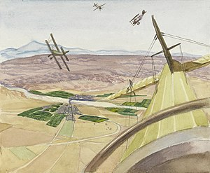 Sydney Carline - Flying Above Kirkuk, Kurdistan (1919) (Art.IWM ART 4637)
