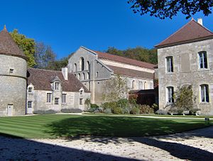 Abbey of Fontenay - View of the dovecote and church