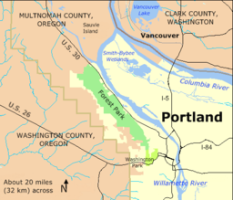 Forest Park runs parallel to the Willamette River and U.S. Route 30 from near downtown Portland northwest to near Sauvie Island. It is much longer than wide.