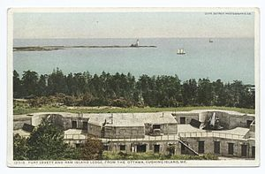 Fort Williams (Maine) - Two of Fort Williams' 10-inch disappearing gun emplacements facing Ram Island Ledge Light, Cape Elizabeth, Maine, 1909. The photo is mis-captioned; Fort Levett and Cushing Island are to the left of the photo.