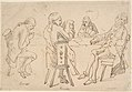Four Artists seated at a table (Brunet, Potier, Tiercetin -?-, Vernet) MET DP808420.jpg