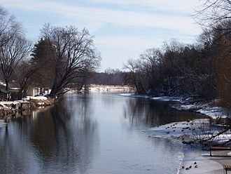 Fox River (Wisconsin) - Looking east at the Upper Fox River in Montello