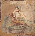 Fragment of wall painting with erotic scene, from Pompeii, Naples National Archaeological Museum (17297820526).jpg
