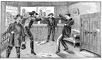 James–Younger Gang - Artist's concept of the 1869 shooting of Capt. John Sheets of Gallatin, allegedly by Frank and Jesse James.