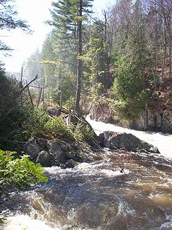 Franklin Falls on the Saranac River in the spring
