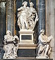Frari (Venice) nave left - Monument to Doge Giovanni Pesaro - Concord and Justice below Wealth and Study by Josse de Corte.jpg
