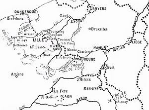 Battle of Albert (1914) - Image: French Belgian frontier zone, 1914