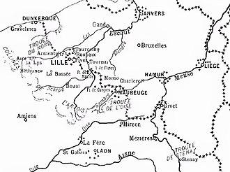 Battle of Albert (1914) - Image: French Belgian frontier zone, 1914