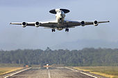 French E-3F Airborne Warning and Control System aircraft takes off from Avord, France