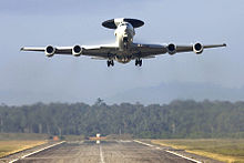French E-3F Airborne Warning and Control System aircraft takes off from Avord, France.jpg