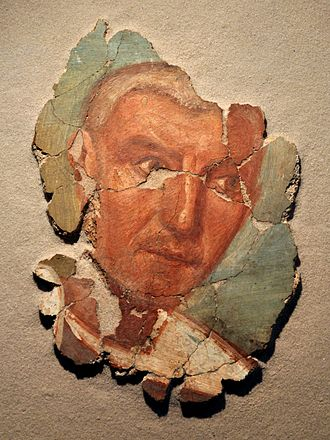 Évreux - Wall fragment with fresco of a Gallo Roman man, from Évreux, 250-275 AD
