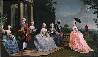 Frederick Charles, Duke of Schleswig-Holstein-Sonderburg-Plön - Frederick Charles, his wife, his three younger daughters, his mother, and a servant in the garden of Schloss Traventhal, 1759.