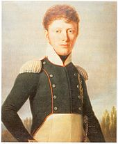 Painting shows a young man with curly brown hair wearing a dark blue double breasted military jacket.