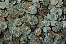 Jumbled pile of Roman coins