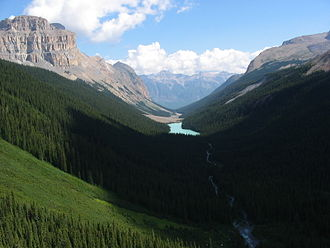 Jasper National Park - Fryatt Valley from the top of the head wall.