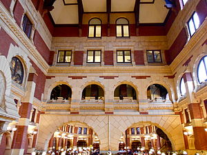 Furness Library - The 4-story Main Reading Room acts as a lightwell for the inner rooms surrounding it.