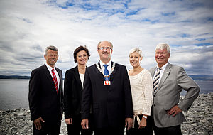 Nord-Trøndelag County Municipality - County mayor Gunnar Viken and the members of the county cabinet. From the left: Sørvik, Lagesen, Mevassvik and Jensen