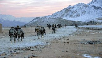 Surobi District (Kabul) - US Army GIs return to their landing zone, to return to their base in Surobi District, Kabul Province, Afghanistan.
