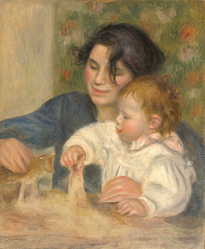 Gabrielle Renard - Gabrielle Renard and Jean Renoir, painted by Pierre-Auguste Renoir