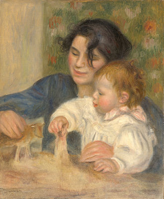 Jean Renoir - The young Renoir with Gabrielle Renard in a painting by his father Pierre-Auguste Renoir.