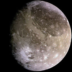 Jupiter's moon Ganymede, imaged by the Galileo spacecraft on June 26, 1996