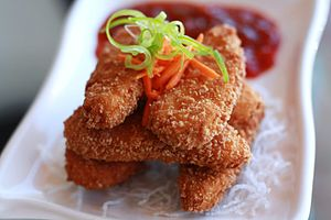Gardein - Image: Gardein Crispy Tenders at Loving Hut Restaurant (4907394193)