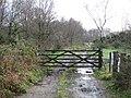 Gate across muddy track on Roundball Hill - geograph.org.uk - 1617536.jpg