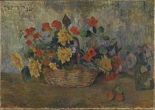 Nasturtiums and Dahlias in a Basket