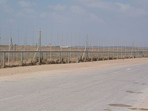 Israel–Gaza barrier - Gaza Strip Barrier near the Karni Crossing