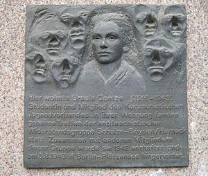 Neukölln (locality) - Memorial plate Ursula Goetze (1987)