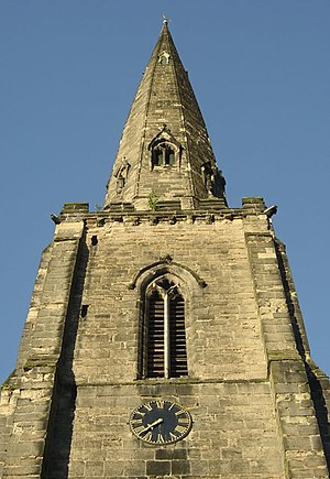 Entasis - Early fourteenth-century steeple of All Hallows' parish church, Gedling, Nottinghamshire, England, showing entasis of the spire