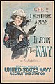 Gee!! I wish I were a man, I'd join the Navy Be a man and do it - United States Navy recruiting station - - Howard Chandler Christy 1917. LCCN2002712088.jpg