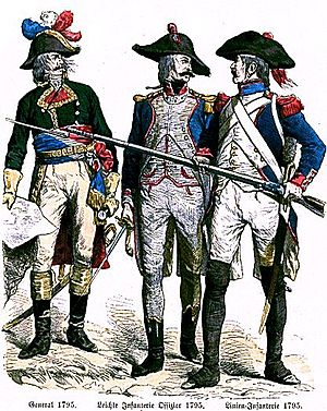 French Revolutionary Army - French Revolutionary général, officer d'infanterie legere and soldier of a demi-brigade de ligne.