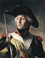 Painting shows a man in a large bicorne hat and a dark blue uniform with his hands resting on a musket.